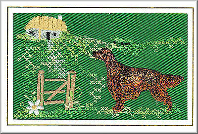 Irish Setter Birthday Card Embroidered by Dogmania FREE PERSONALISATION