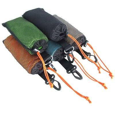 Tri-Fold Golf Bag Trolley Sports Camping Hiking Towel+ Hanging Carabiner 40X65Cm