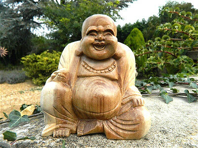 Wooden Buddha Carving - Hand Carved Laughing Buddha Sitting Fat Chinese 10cm