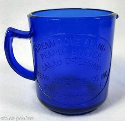 Cobalt Blue Measuring Cup Cream Dove Co. Binghamton, NY Retro Depression Glass
