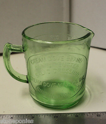 Green Measuring Cup Cream Dove Co. Binghamton, NY Retro Depression Style Glass