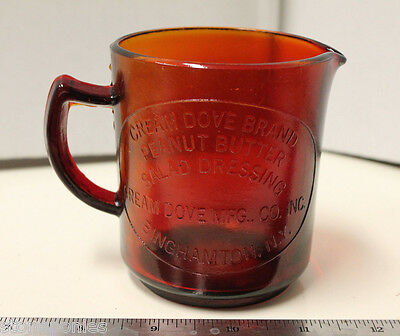 Red Measuring Cup Cream Dove Co. Binghamton, NY Retro Depression Style Glass