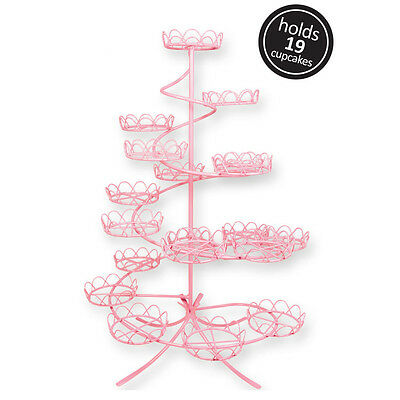 Pink Coated Wire Cupcake Cake Stand Display Birhtday Party Decoration Holds 19
