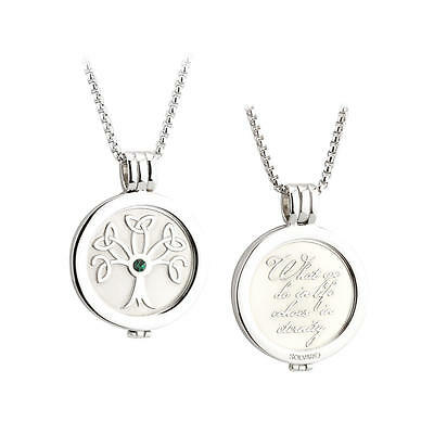 Rhodium Plated Celtic Tree of Life Coin Pendant Necklace Celtic Jewellery Boxed
