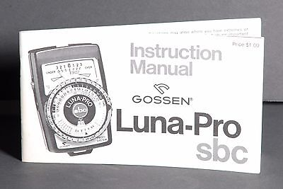 Gossen Luna-Pro SBC Light Meter Instruction Book / Manual / User Guide #3