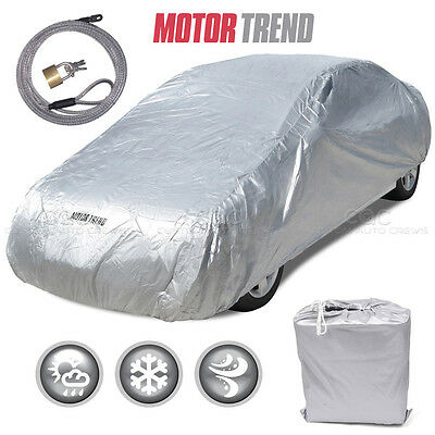 """Motor Trend All Season Complete Waterproof Car Cover Fits up to 190"""" W/ Lock"""