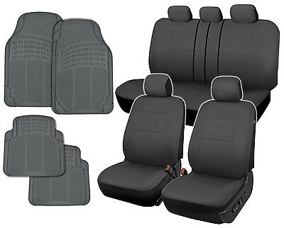 Car Seat Covers - Charcoal/Black Polyester Cloth - Front & Rear Split Bench 9pc