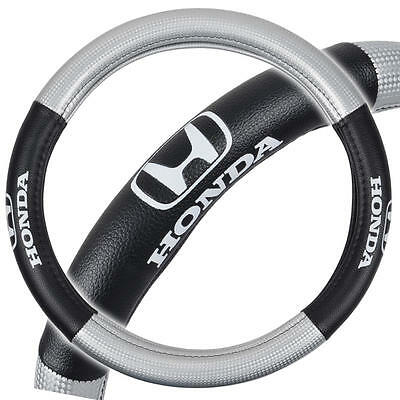 """Honda Steering Wheel Cover Synthetic Leather Grip Odorless 13.5""""-14.5"""" in Silver"""