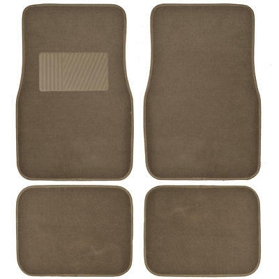 Deluxe 4 Piece High Quality Thick Plush Auto Carpeted Floor Mats - Dark Beige