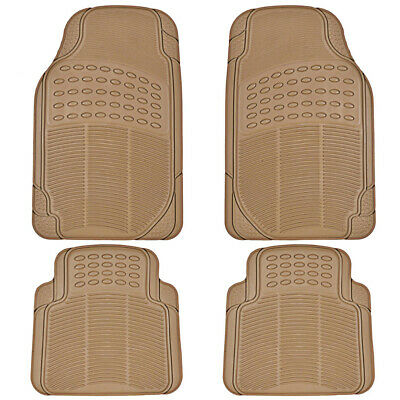 Car Rubber Floor Mats for All Weather Heavy Duty Tech 4 PCS Trimmable Beige