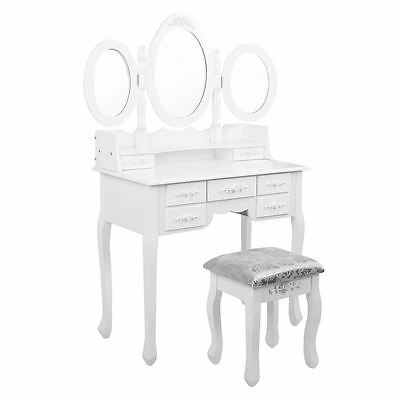 7 Drawer Dressing Table w/ Mirror White Shopiverse Deal