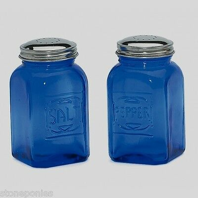 New Cobalt Blue Glass Salt and Pepper Shakers Embossed Retro Depression Style
