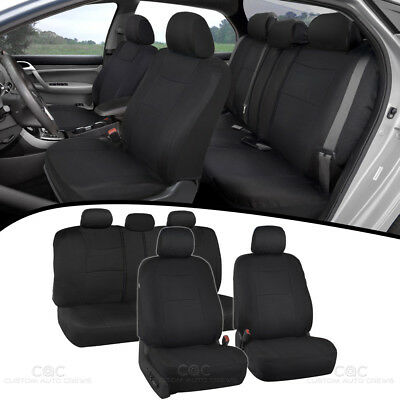 Black Full Set Car Seat Covers Premium Double Stitching w/ Split Bench