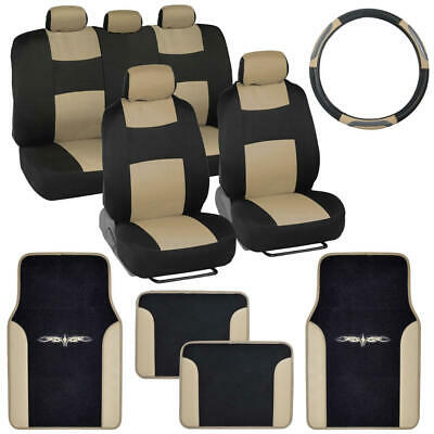 Beige / Black Car Interior Split Bench Seat Covers 2 Tone Floor Mats - 14 Pc Set