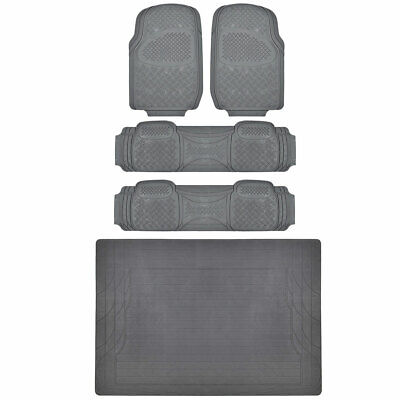 Gray Non-Toxic Rubber Floor Mats Front Rear & Liner Eco-Friendly MOTORTREND