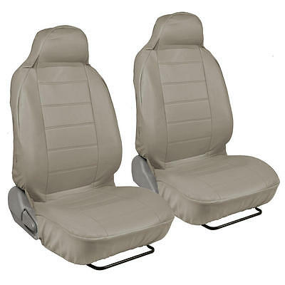 Car Seat Covers Front Pair - Beige Synth Leather - For High Back Bucket Seats