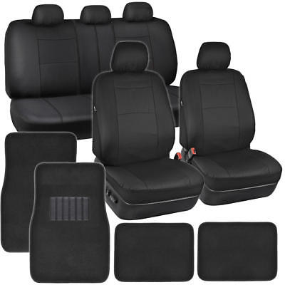 Black Synthetic Leather Car Seat Covers & 4pc Carpet Floor Mats Auto Interior