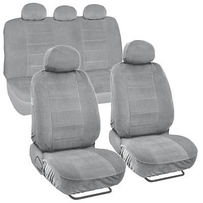 Gray Full Cloth Encore style  Premium Car Seat Covers Low Back 9 pc