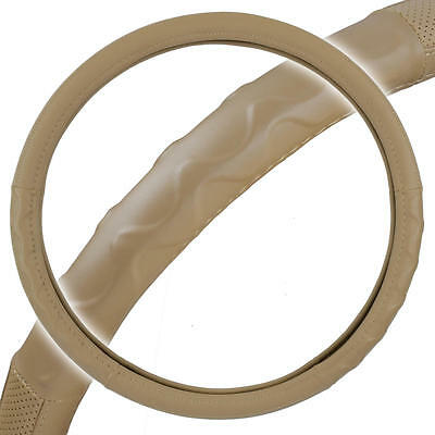 """Big Rig Steering Wheel Cover for Tractor Trailer 18"""" Beige Premium Syn Leather"""
