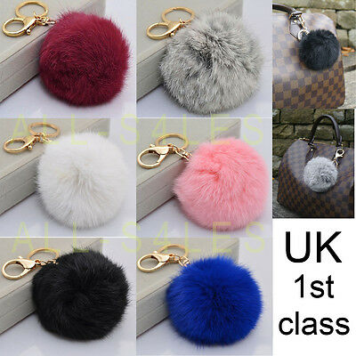 NEW Large Real Fur Ball Pompom Bag Charm Keyring Accessory UK Seller