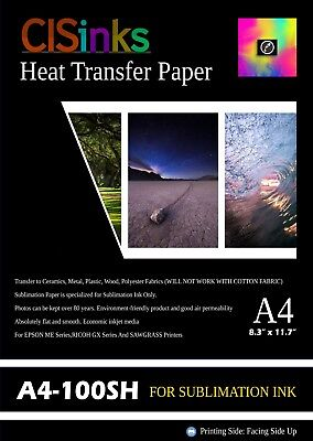 "100 Sheets A4 (8.27"" x 11.7"") Sublimation Ink Heat Transfer Paper Inkjet Printer"