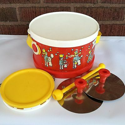 Vintage 1979 Fisher Price Marching Band Drum Set - Incomplete