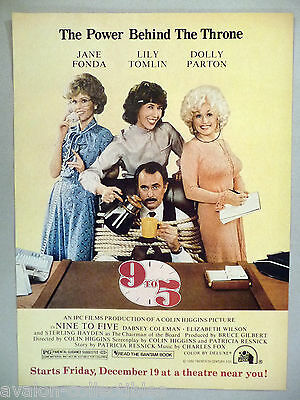 """9 To 5"" Movie Release PRINT AD - 1980 ~~ Jane Fonda, Dolly Parton, Lily Tomlin"