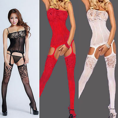 Women Sexy Babydoll Sleepwear Bodystocking Fishnet Crotchless Tights Lingerie
