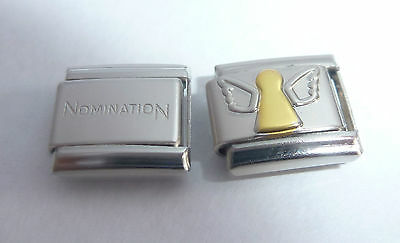 GOLD ANGEL 9mm Italian Charm + 1x Genuine Nomination Classic Link SILVER WINGS
