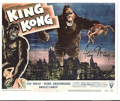 King Kong Fay Wray Signed Autograph  8 X 10  Color  Willis O'brien Lobby Card