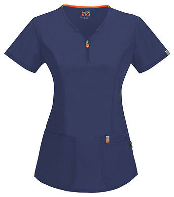 Scrubs Code Happy V-Neck Top 46600A NVCH Navy Antimicrobial Free Shipping