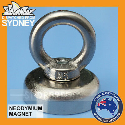 12Kg Salvage Strong MAGNET N52 Neodymium Eyebolt Circular Ring 25mm x 30mm