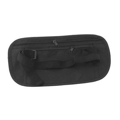 Travel Security Zip Waist Pouch Passport Money Ticket Belt Hidden Bag Black