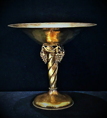 1930's Gold Plated Sterling Silver Grape Compote Designed by Georg Jensen