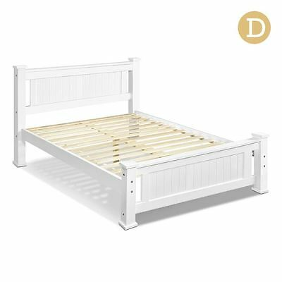 Wooden Bed Frame Pine Wood Double White Shopiverse Deal