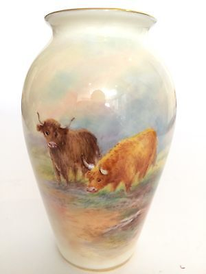 Royal Worcester Hand Painted Highland Cattle Vase Signed E Townsend
