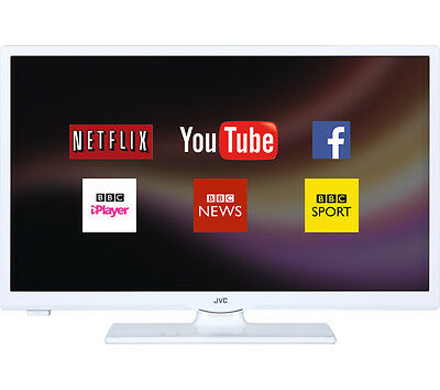 """JVC LT-24C661 Smart 24"""" LED TV Freeview Built-In WiFi HD Ready 720p White"""
