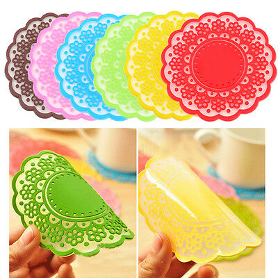 Silicone Lace Coasters Mat Cushion Heat Pad Cup Pads Bowl Tableware Placemat