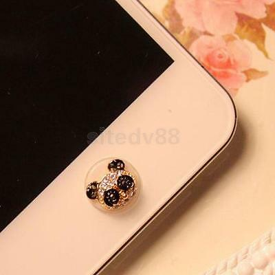 Home Button Sticker 3D Crystal Bling Diamond Panda For iPhone 5/6/ 6 Plus