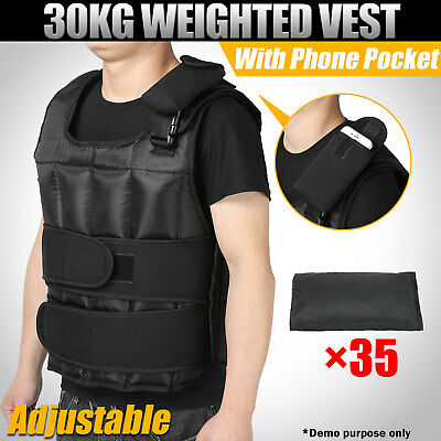 30kg Weighted Vest Adjustable Weight Fitness Workout MMA Gym Crossfit Training