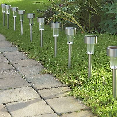 Brand New 10 Stainless Steel Solar Powered Rechargeable Lights Garden Lanterns