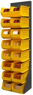 """Durham Free Standing Louvered Panel Rack System 16 Yellow Hook Bins, 68"""" Height"""