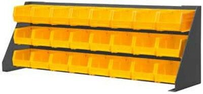 """Durham Free Standing Louvered Panel Rack System 24 Yellow Hook Bins, 34"""" Width"""