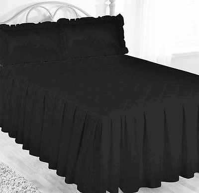 Super King Black Egyptian Cotton 200 Thread Count Fitted Bedspread & Pillowsham