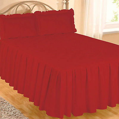 Double Bed Red Egyptian Cotton 200 Thread Count Fitted Bedspread & Pillowsham