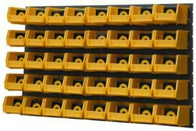 Durham Wall Mounted Louvered Panel Rack System 40 Yellow Hook Bins 34 1/2 x 20