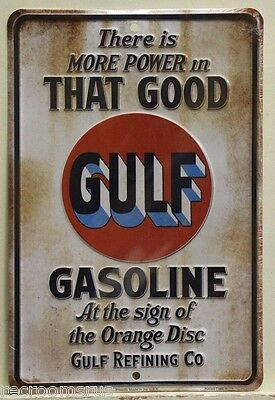 GULF Gas & Oil embossed Metal Sign more power that good gasoline golf  mc80076