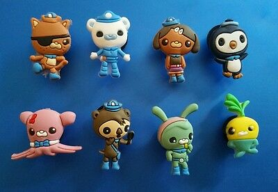 New 8 Pc Octonauts  Barnacles, Kwazii Peso Shoe Charms Jibbitz Cake Party Favors