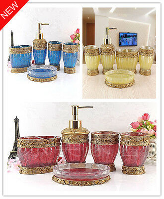5pcs Sets Bathroom Modern Accessories Accessory Toothbrush Soap Holder Dish