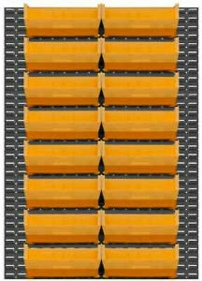 """Durham Wall Mountable Louvered Panel Rack System 16 Yellow Hook Bins, 64""""Height"""